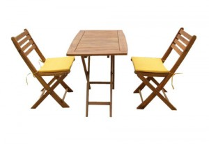 Accacia set 2 folding chairs + 1 table