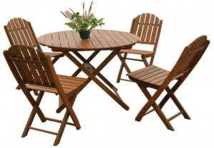 Accacia set 4 tennis chairs + 1 table