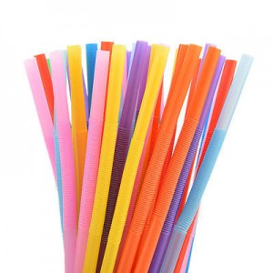 Multicolour stripes Extra Long Flexible Drinking Bendy