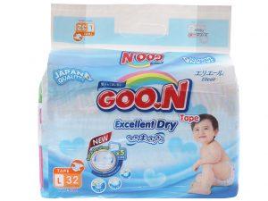 Goon's baby diaper Size L 9 – 14kg 32 pcs
