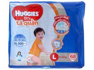 Huggies Dry Pants Size L 9 – 14kg (68 Pcs)