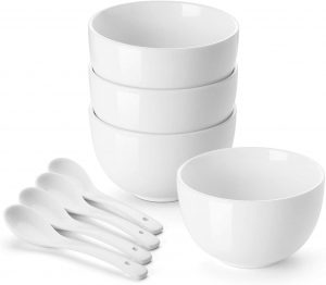 Ramen Bowls and Spoons Set, 30 Ounces Deep Soup Bowls with Spoons, White Cereal Bowl for Oatmeal, Ceramic Bowls for Kitchen, Dishwasher & Microwave Safe