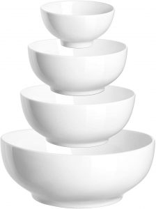 Serving Bowl Ceramic, White Mixing Nesting Bowl, 86/36/24/8.5 Ounces Salad Bowls for kitchen, Mix Serving Bowl Set of 4, Dishwasher and Microwave Safe