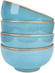 Ceramic Bowl Set of 4, Dishwasher and Microwave Safe (5.75 Inches, Lake Blue)