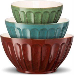 Color Ceramic Mixing/Serving Bowls, Large, Medium, Small, Nesting,