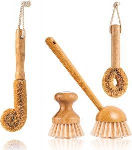 Kitchen Wooden Cleaning Brush Kit, Natural Wood Bottle Brush Pot Pan Brush Bamboo Dish Washing Brush and Vegetable Brush, Zero Waste Dish Scrub Brushes 4 Pack