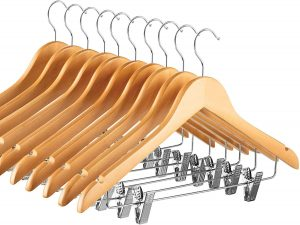 High-Grade Wooden Suit Hangers Skirt Hangers with Clips (20 Pack) Smooth Solid Wood Pants Hangers with Durable Adjustable Metal Clips, 360° Swivel Hook, Shoulder Notches for Dress Coat, Jacket, Blouse