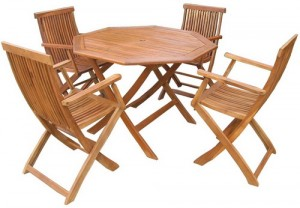 Accacia (1 Table + 4 Blue Chairs)
