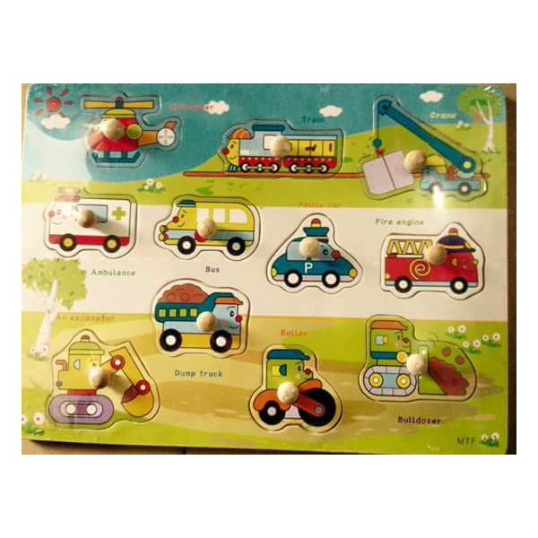 Vehicle jigsaw puzzle with wooden knob 1209