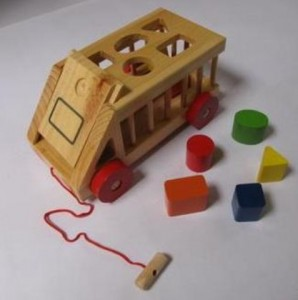Wooden truck dropping goods