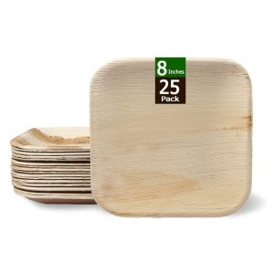 Disposable Bamboo Plates 8 Inches Square Compostable Dinnerware Set Eco Friendly Palm Leaf Plates for Weddings, Events, Party