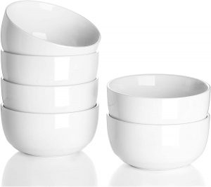 10 Ounce Small Porcelain Bowls for Dessert Set of 6 Little Ceramic White Dishes for Serving Ice Cream Fruit Dipping Sauce Rice