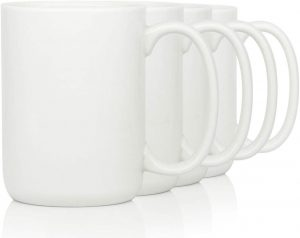 16 OZ Porcelain Coffee Mugs Smilatte Classic Blank Ceramic Cup with Large Handle for Tea Latte Cappuccino Set of 4 White