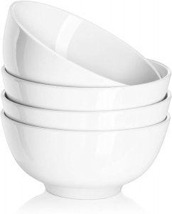 Ceramic Soup Bowls, Cereal Bowl, 22 Ounce Bowls Set, Chip Resistant, Dishwasher & Microwave Safe, Porcelain Bowls for Kitchen, White Bowls for Cereal Soup Rice Pasta Salad Oatmeal