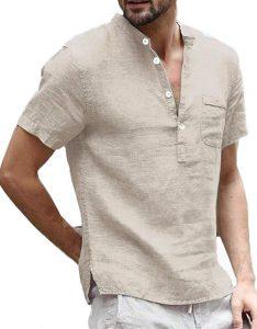 Mens Linen Henley Shirts Short Sleeve Casual Summer T Shirt Banded Collar Beach Tops