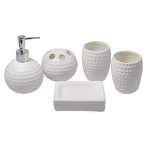 Ceramic Bathroom Accessory Set Sink Accessory Set Modern Design Includes Lotion Bottles Toothbrush HolderTooth CupSoap Dish Tray