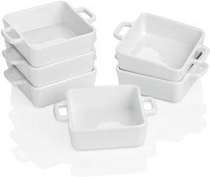 Porcelain Ramekins for Baking Set of 6 white Souffle Dishes Bakeware Set7 OZ Square Double Handle Ramekins for Pudding Custard
