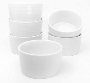 M Gastro Kitchens 6 Piece Set 4 Ounce West Loop Round Ramekins Creme Brulee Souffle Custards 4 Ounce White