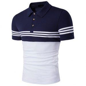 Sovina Mens Fashion Stripe Contrast Color Short Sleeve Polo T Shirt