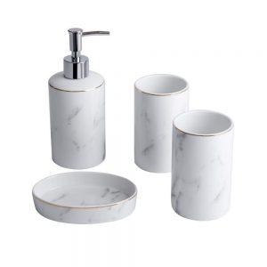 White Bathroom Accessories Set 4 Pieces Bath Ensemble Set Include Hand Soap Dispenser Soap Dish and 2 Tumblers Marble Bathroom