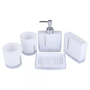5 Pcs Bathroom Accessory Set Luxury Bath Vanity Set with Toothbrush Holder Container Tumble Soap Dish Liquid Soap Lotion Pump