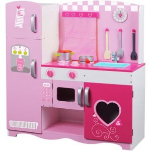 Wooden Large Children's Play House Simulation Kitchen Toys Wooden Kitchen Pink Toy