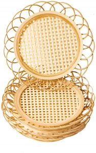 Natural Handmade Woven Cottagecore Bamboo Rattan Coasters for Drinks – Neutral Minimalist Wicker Boho Indie Style Coasters for Home Kitchen Living Room Coffee Table Decor Accessories – Set of 4
