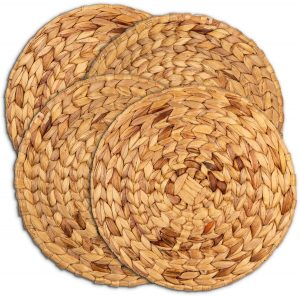 Woven Placemats | Round Placemats For Dining Table | 13″ Water Hyacinth Placemats Set of 4 | Large Round Wicker Placemats For Round Table | Rattan…