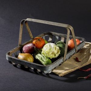 A basket of fruits and vegetables.