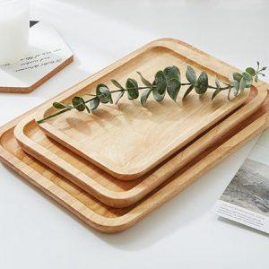 Wooden rectangular decorative tray