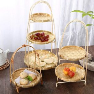 Bamboo trays decorate the floors